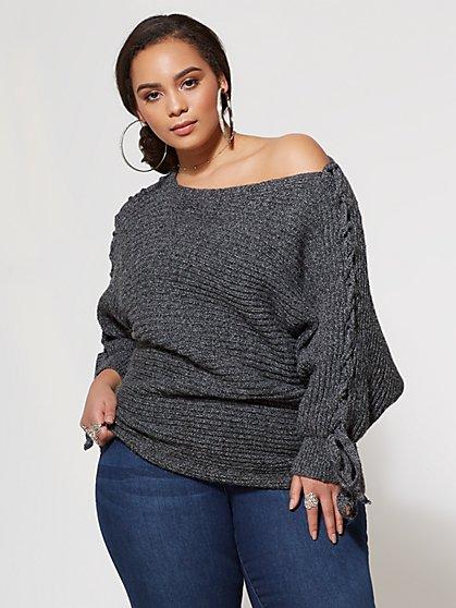 FTF Lana Lace-up Sweater - New York & Company