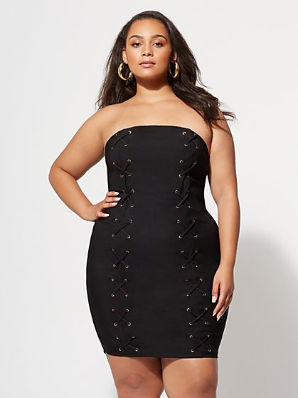 FTF Lexi Lace-Up Bodycon Dress - New York & Company