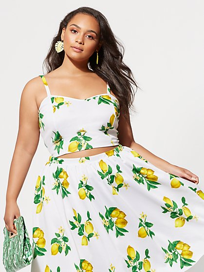 FTF Lola Lemon Crop Top - New York & Company