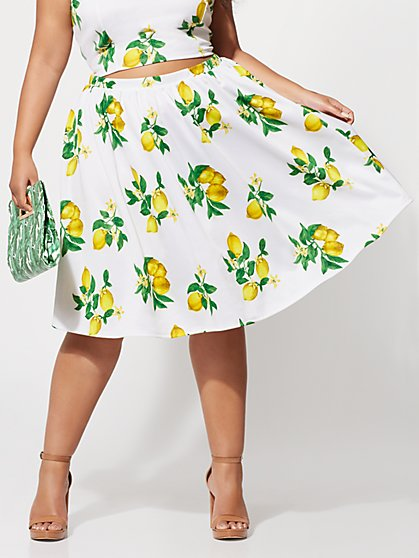FTF Lola Lemon Flare Skirt - New York & Company