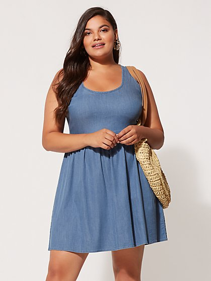 FTF Luciana Bow Back Denim Dress - New York & Company