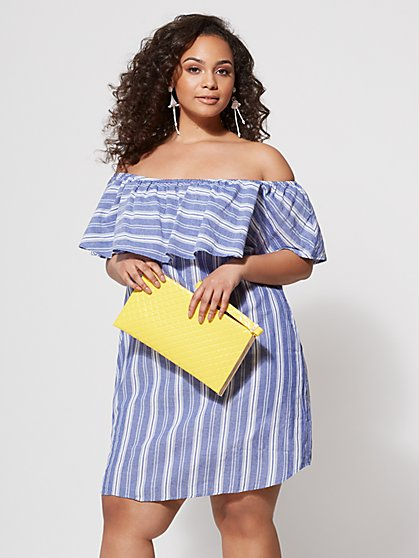 FTF Lucie Off Shoulder Ruffle Dress - New York & Company