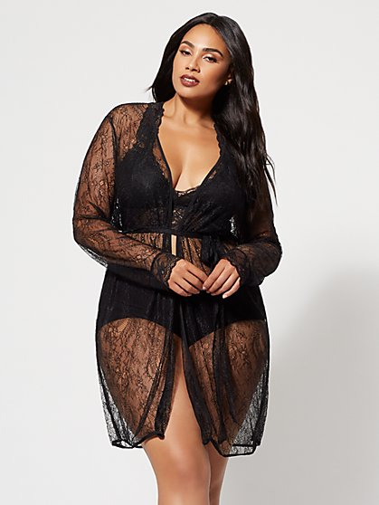 FTF Mari Sheer Lace Robe - New York & Company