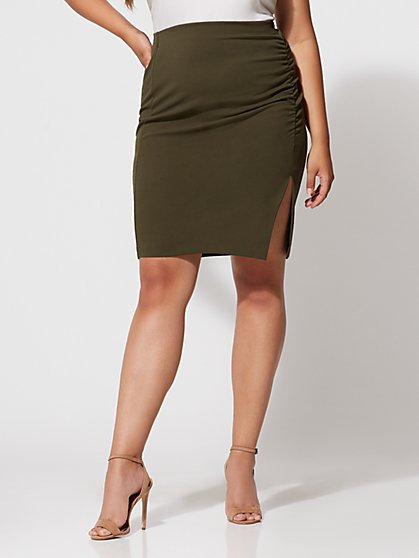 FTF Olive Cinched Pencil Skirt - New York & Company