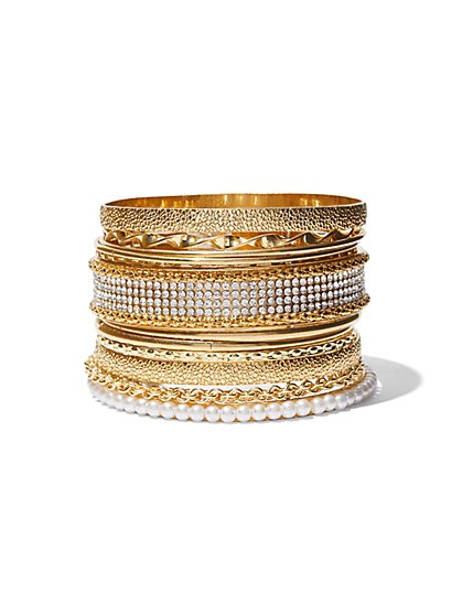 FTF Rhinestone & Gold Bangle Set - New York & Company