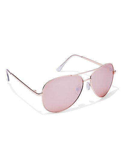 FTF Rose Gold Aviator Sunglasses - New York & Company