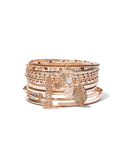 FTF Rose Gold Bangle Set - New York & Company