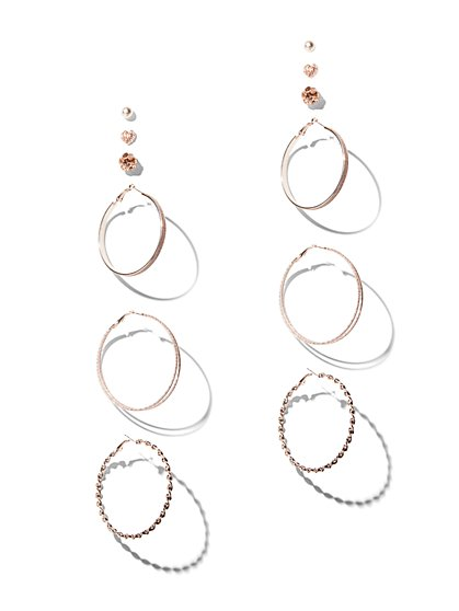 FTF Rose Gold Earring Set - New York & Company