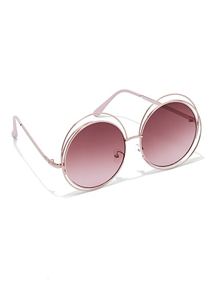 FTF Round Pink Sunglasses - New York & Company