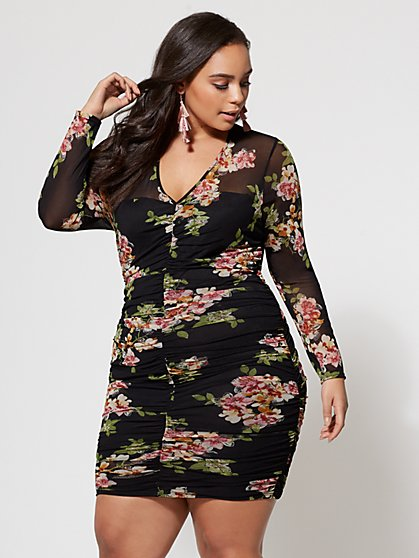 FTF Ruched Floral Dress - New York & Company