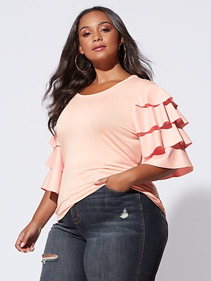 FTF Sasha Tiered-Sleeve Tee - New York & Company
