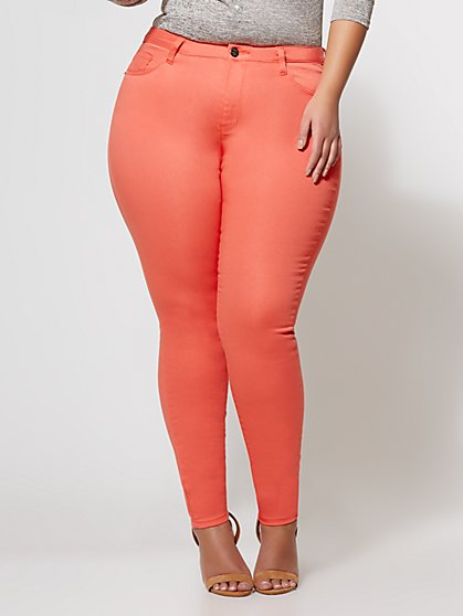 FTF Sculpted Coral Skinny Jeans - New York & Company