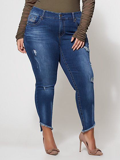FTF Seven7 Slanted Hem Skinny Jeans - Med Wash - New York & Company