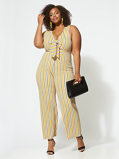 FTF Shannon Tie-Front Jumpsuit - New York & Company