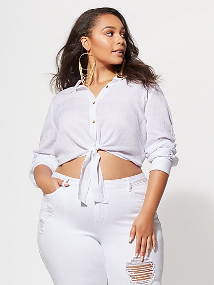 FTF Shay Tie-Front Top - New York & Company