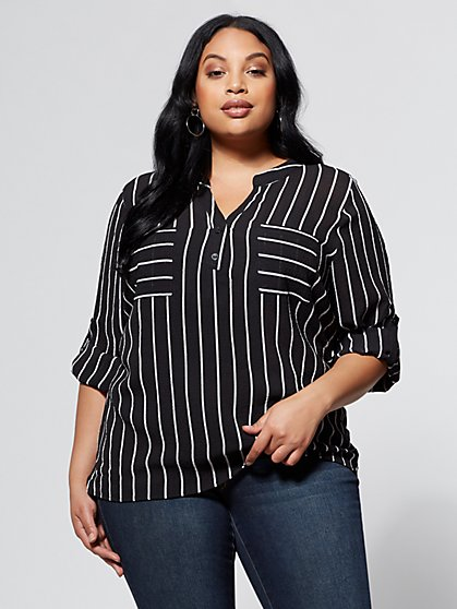 FTF Stripe Button Up Top - New York & Company