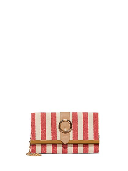 FTF Striped Buckle Clutch - New York & Company