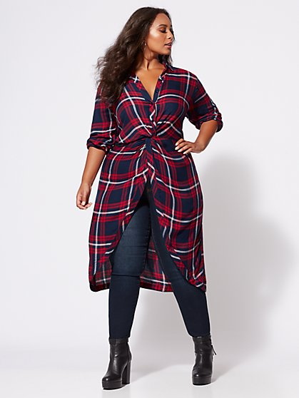 FTF Taylor Twist-Front Plaid Tunic - New York & Company