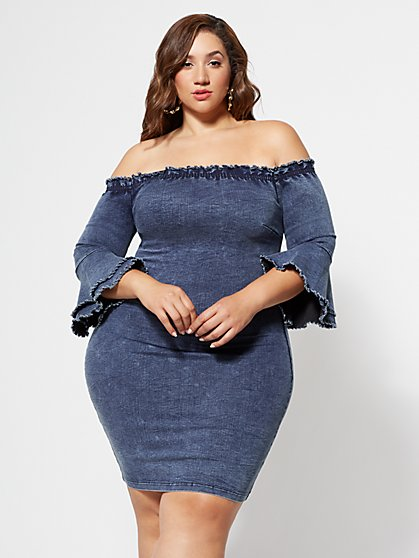 FTF Thalia Off-Shoulder Denim Dress - New York & Company