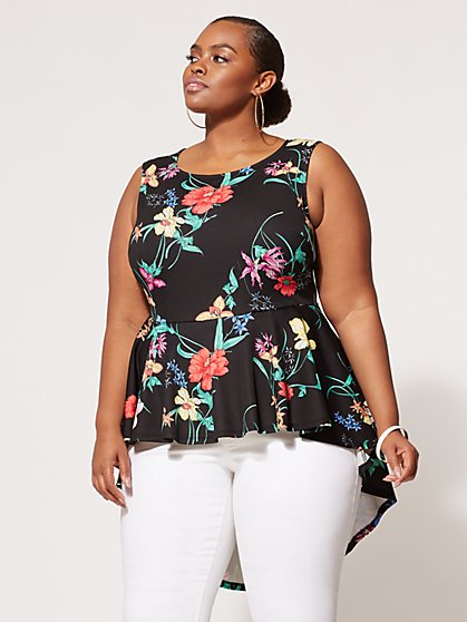 FTF Tropical Peplum Top - New York & Company
