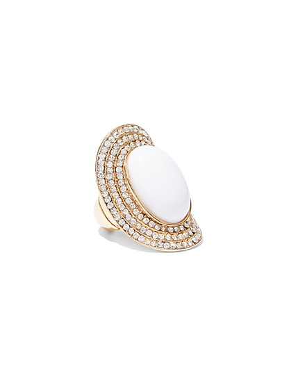 FTF White & Gold Statement Ring - New York & Company