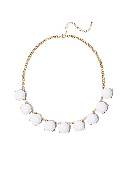 FTF White Rhinestone Necklace - New York & Company
