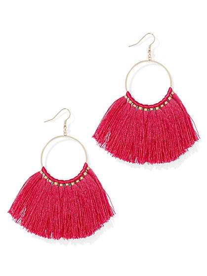 Fan-Accent Hoop Drop Earring - New York & Company