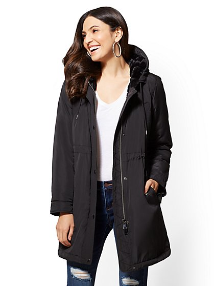 Faux Fur-Lined Hooded Anorak Jacket - New York & Company