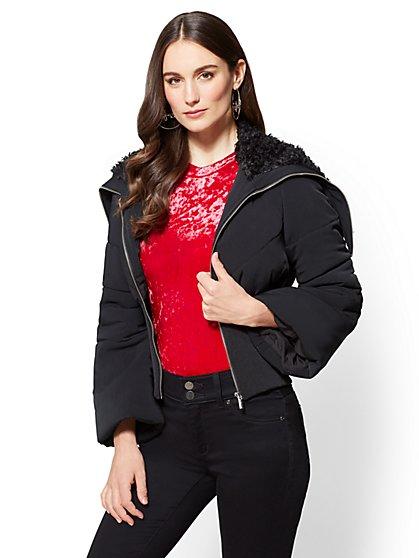 Faux-Fur Shawl Collar Puffer Jacket - New York & Company