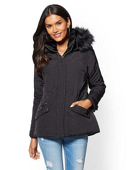 Faux Fur-Trim Hooded Puffer Coat - New York & Company