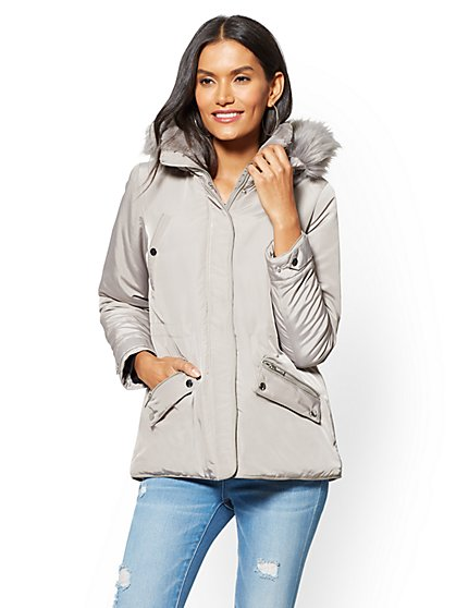 Faux Fur-Trim Hooded Puffer Coat - New York & Company