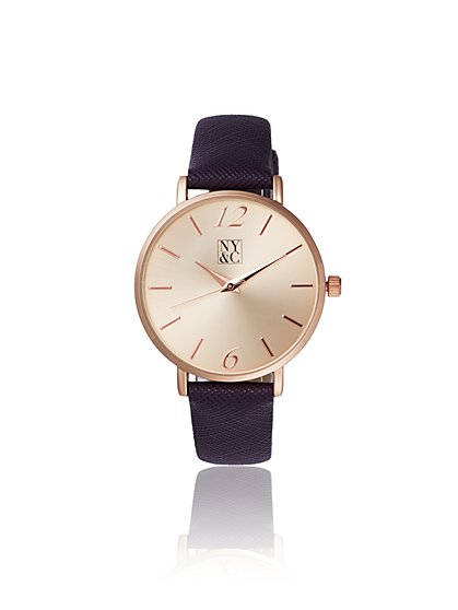 Faux-Leather Band Goldtone Watch - New York & Company