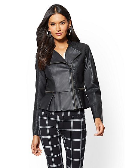 Black leather jacket new york and company