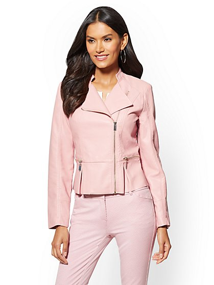 Faux-Leather Collarless Moto Jacket - New York & Company