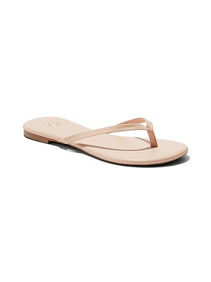 Faux-Leather Flip-Flop Sandal - New York & Company
