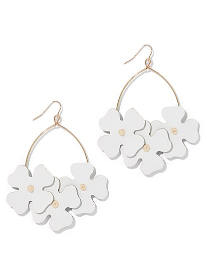 Faux-Leather Floral Drop Earring - New York & Company
