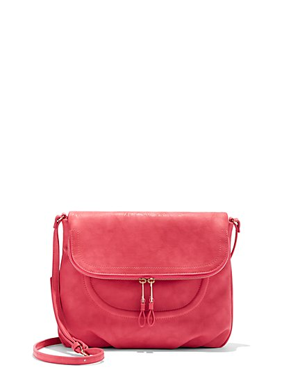 Faux-Leather Saddle Bag - New York & Company