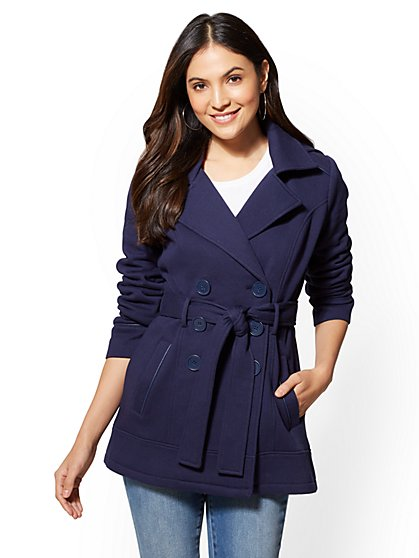 Faux Leather-Trim Knit Peacoat - New York & Company