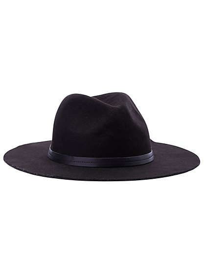 Faux-Leather Trim Western Hat - New York & Company