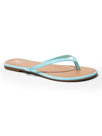 Faux Patent-Leather Flip-Flop Sandal - New York & Company
