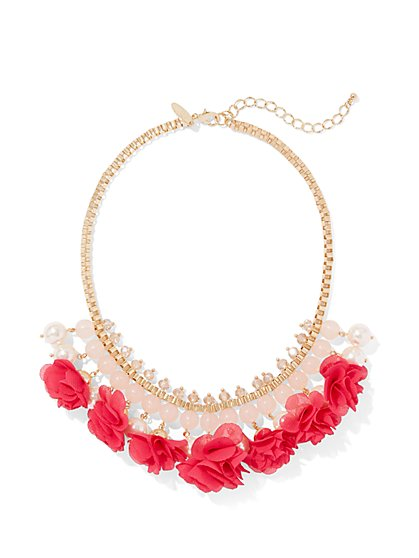 New Arrivals Faux-Pearl & Floral Statement Necklace