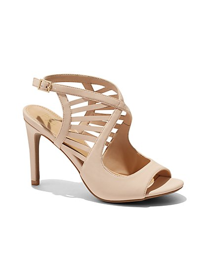 Faux-Suede Cage Sandal - New York & Company