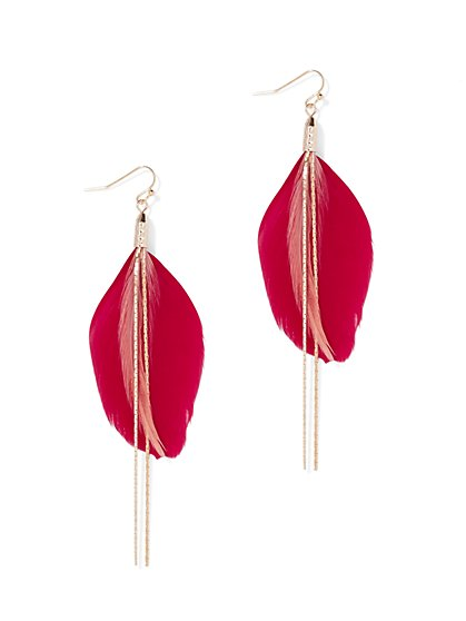Feather & Tassel Drop Earring - New York & Company