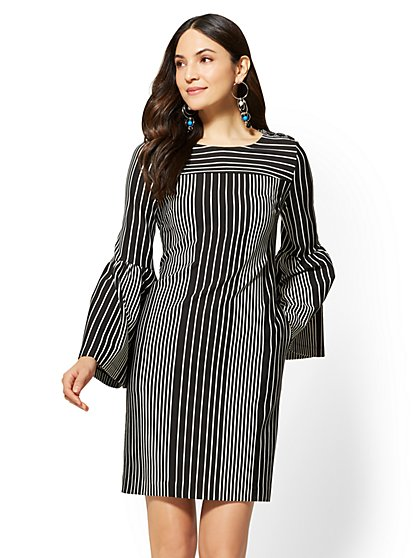 Flared-Sleeve Shift Dress - Stripe - New York & Company