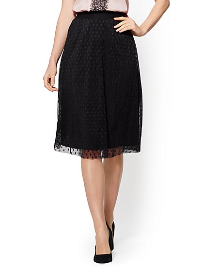 Flocked-Dot Overlay Flare Skirt - New York & Company