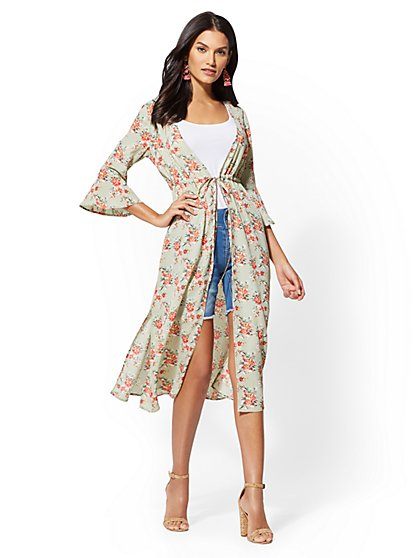 Floral Bell-Sleeve Duster Jacket - New York & Company