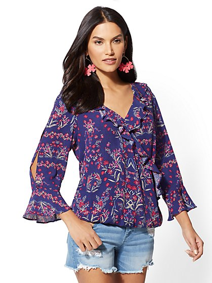 Floral Bell-Sleeve Wrap Blouse - New York & Company