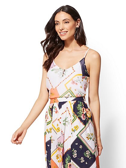 Floral Button-Front Camisole Top - New York & Company