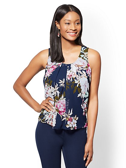 Floral Chiffon-Overlay Shell - New York & Company