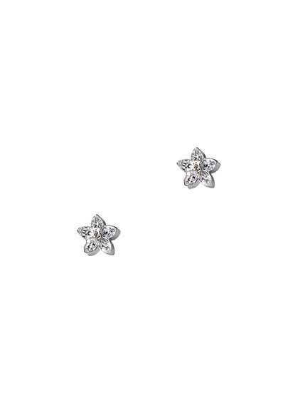 Floral Cubic Zirconia Silvertone Post Earring - New York & Company